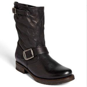 FRYE $298 Black Leather VERONICA Short Moto Boots